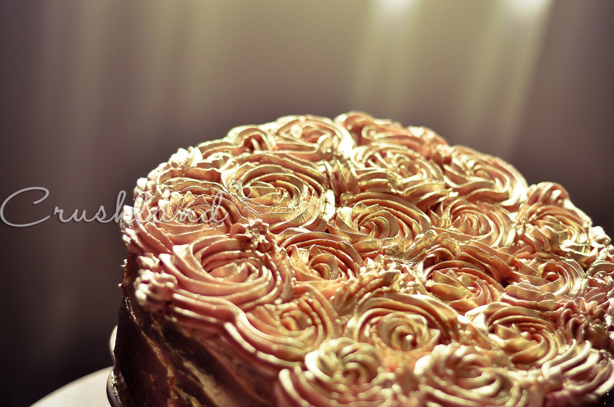 Antique Golden Rose Birthday Cake