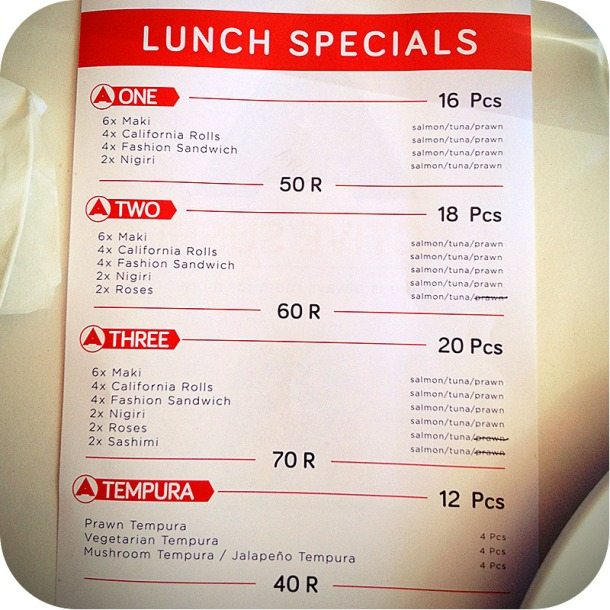 The Lunch Special at Active Sushi. The sushi is okay, for budget sushi.