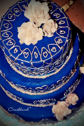 The Royal Blue & Silver Wedding Cake