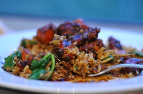 Stir-fried Cauliflower 'Rice' & Sticky Sesame Chicken